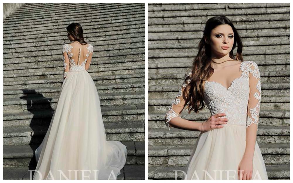9dbbf8ac5cd68d Модель ABRIL - це пишне плаття з мереживним корсетом і рукавом по лікоть, з  елегантною спинкою на гудзиках виконаною в ніжному кольорі.